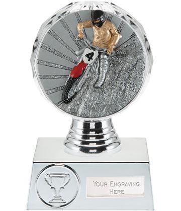 "Motocross Trophy Silver Hemisphere 13.5cm (5.25"")"