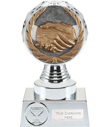 """Handshake Trophy Silver Hemisphere 15cm (6"""")"""