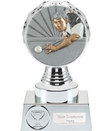 "Snooker Player Trophy Silver Hemisphere 15cm (6"")"