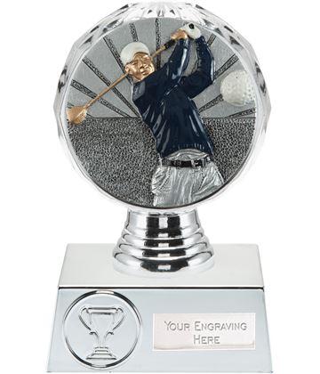 "Golf Trophy Silver Hemisphere 13.5cm (5.25"")"