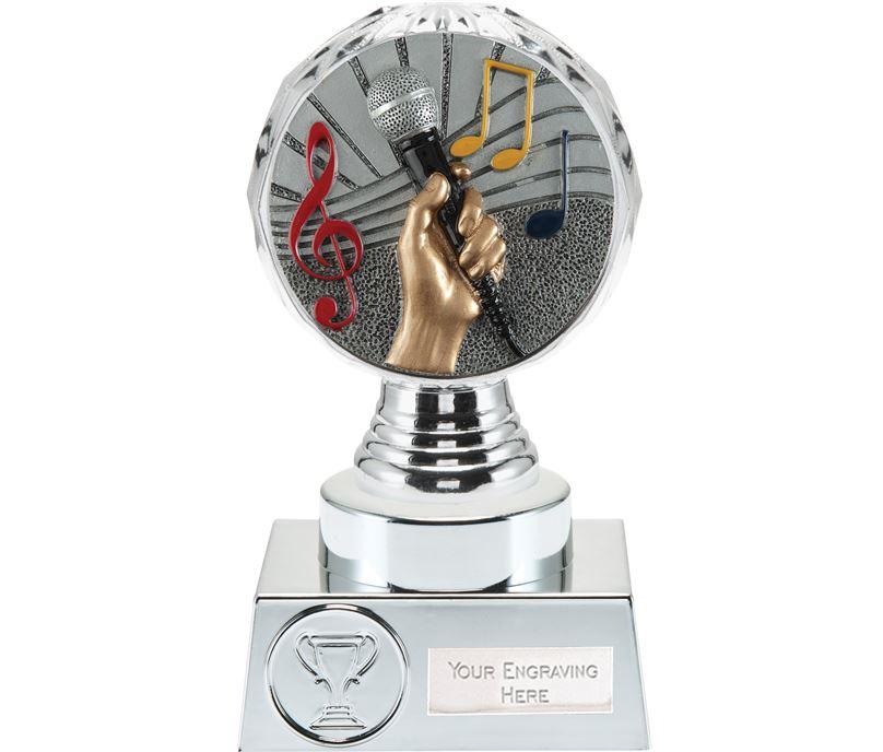 "Music Trophy Silver Hemisphere 15cm (6"")"