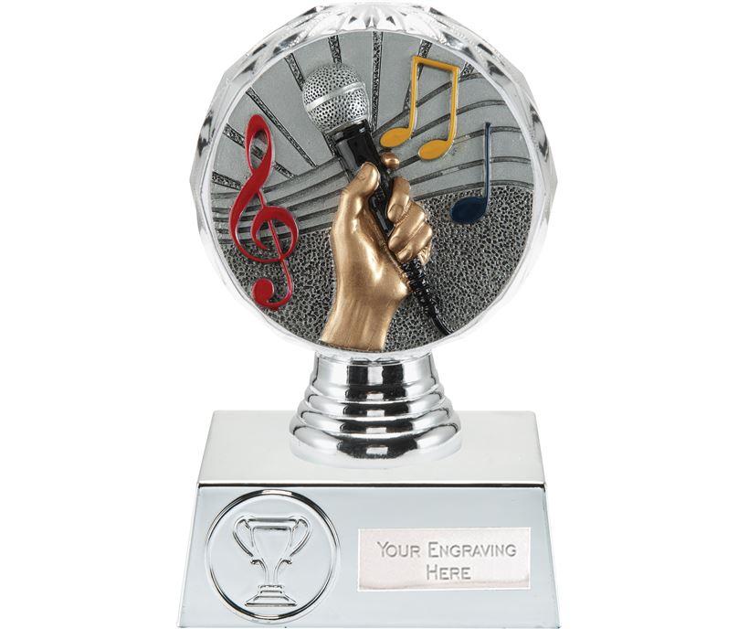 "Music Trophy Silver Hemisphere 13.5cm (5.25"")"