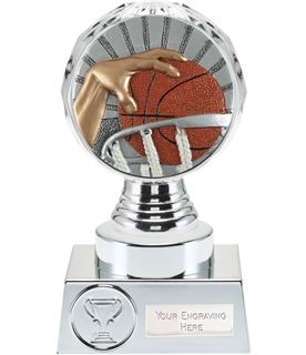 "Basketball Trophy Silver Hemisphere 15cm (6"")"