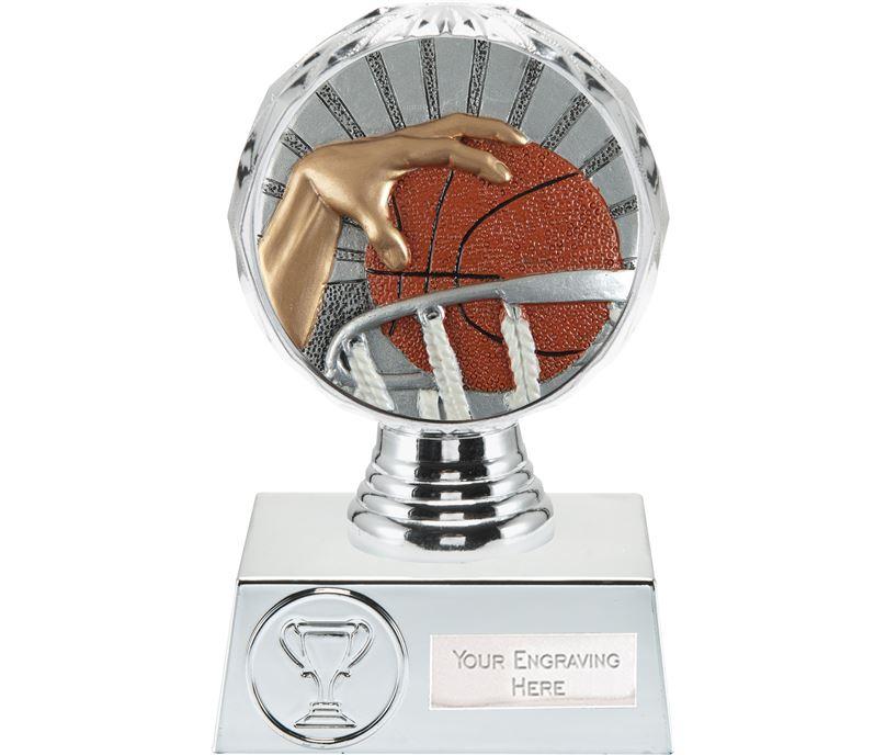 "Basketball Trophy Silver Hemisphere 13.5cm (5.25"")"
