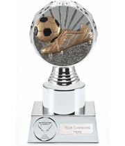 """Boot and Ball Trophy Silver Hemisphere 16.5cm (6.5"""")"""