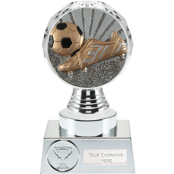 """Boot and Ball Trophy Silver Hemisphere 15cm (6"""")"""