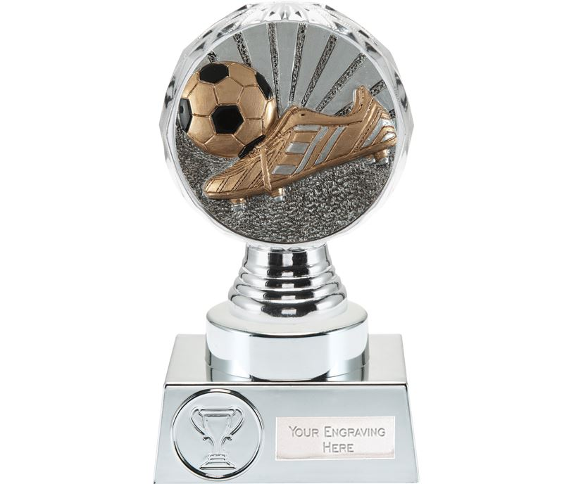 "Boot and Ball Trophy Silver Hemisphere 15cm (6"")"