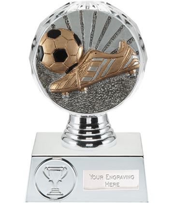 "Boot and Ball Trophy Silver Hemisphere 13.5cm (5.25"")"
