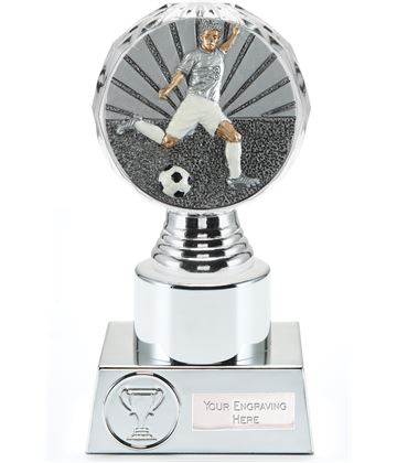 "Footballer Trophy Silver Hemisphere 16.5cm (6.5"")"