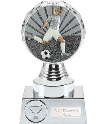 "Footballer Trophy Silver Hemisphere 15cm (6"")"