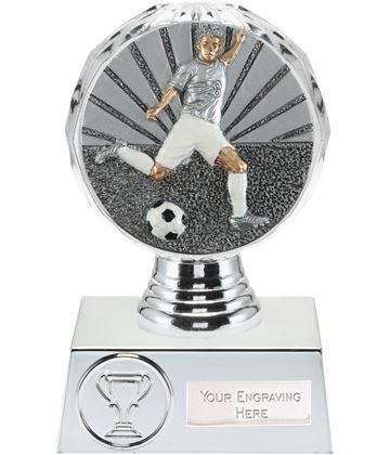 "Footballer Trophy Silver Hemisphere 13.5cm (5.25"")"