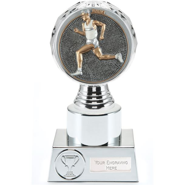 "Male Running Trophy Silver Hemisphere 16.5cm (6.5"")"
