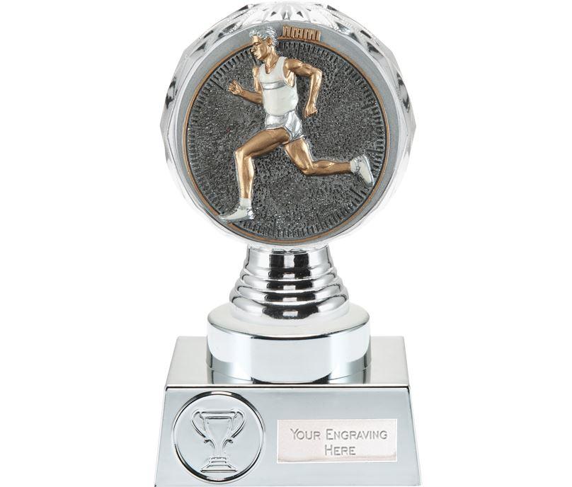 "Male Running Trophy Silver Hemisphere 15cm (6"")"
