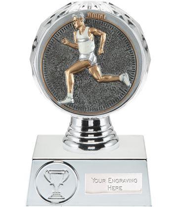 "Male Running Trophy Silver Hemisphere 13.5cm (5.25"")"
