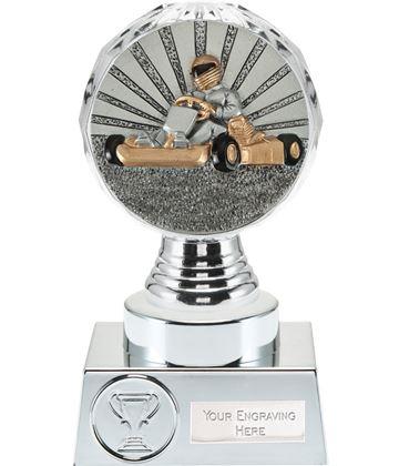 "Go Karting Trophy Silver Hemisphere 15cm (6"")"