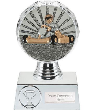 "Go Karting Trophy Silver Hemisphere 13.5cm (5.25"")"