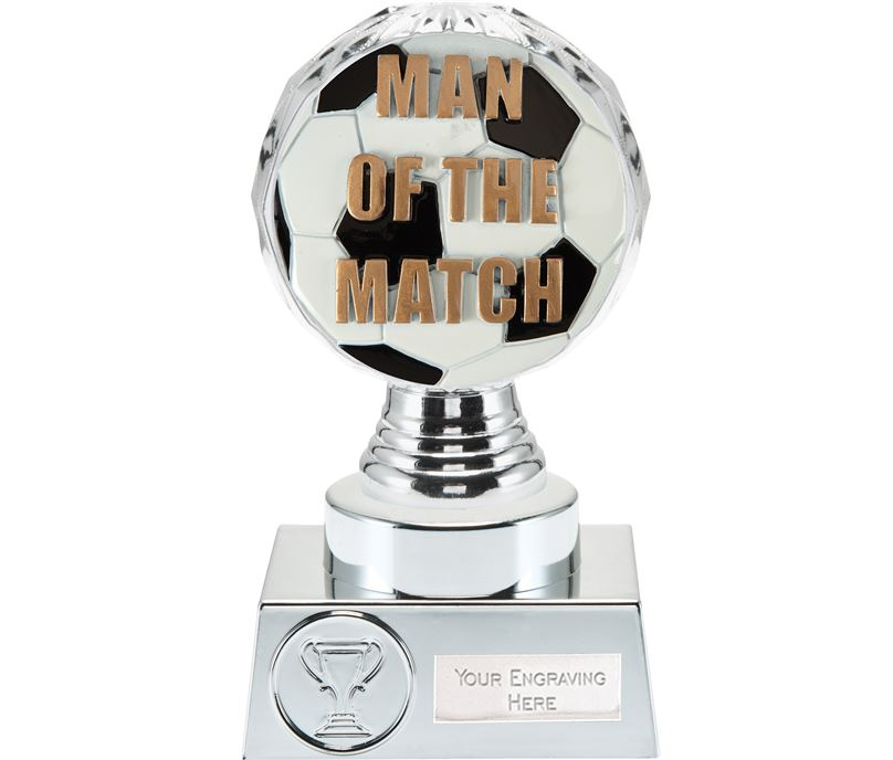 "Man of the Match Trophy Silver Hemisphere 15cm (6"")"