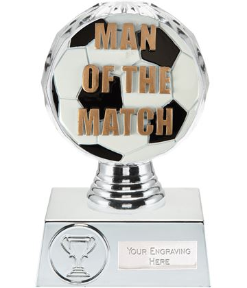 "Man of the Match Trophy Silver Hemisphere 13.5cm (5.25"")"