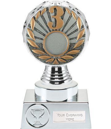 "3rd Place Trophy Silver Hemisphere 15cm (6"")"