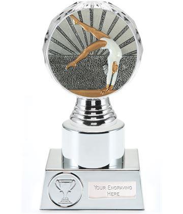 "Female Gymnastics Trophy Silver Hemisphere 16.5cm (6.5"")"