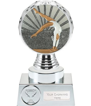 "Female Gymnastics Trophy Silver Hemisphere 15cm (6"")"