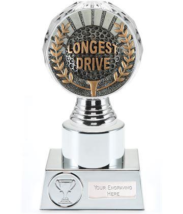 "Longest Drive Golf Trophy Silver Hemisphere 16.5cm (6.5"")"