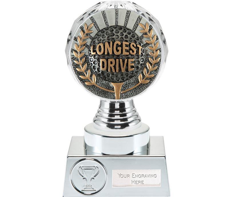 "Longest Drive Golf Trophy Silver Hemisphere 15cm (6"")"