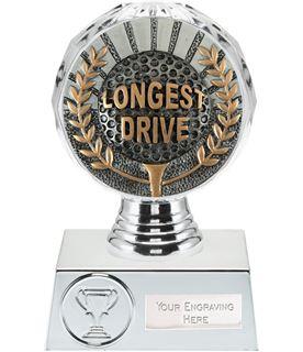 "Longest Drive Golf Trophy Silver Hemisphere 13.5cm (5.25"")"