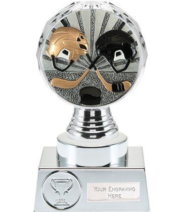 "Ice Hockey Trophy Silver Hemisphere 15cm (6"")"