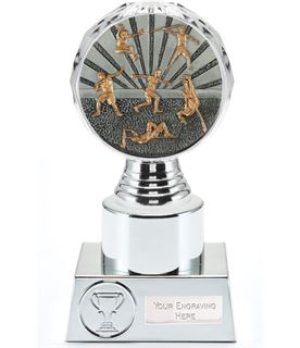 "Track and Field Trophy Silver Hemisphere 16.5cm (6.5"")"