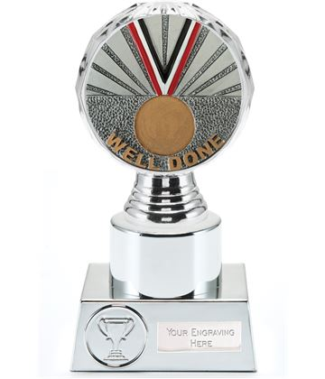 "Well Done Trophy Silver Hemisphere 16.5cm (6.5"")"