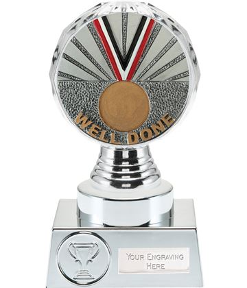 "Well Done Trophy Silver Hemisphere 15cm (6"")"
