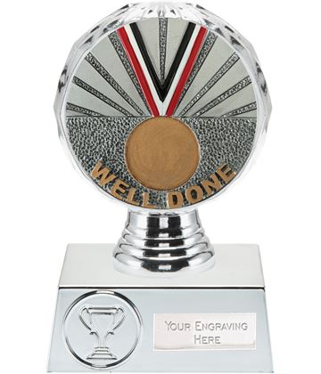 "Well Done Trophy Silver Hemisphere 13.5cm (5.25"")"