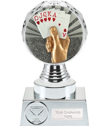 "Cards Trophy Silver Hemisphere 15cm (6"")"
