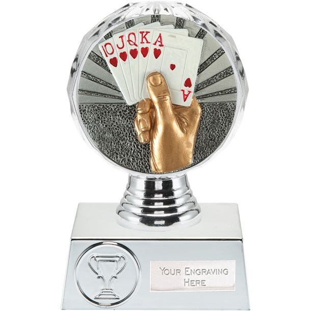 "Cards Trophy Silver Hemisphere 13.5cm (5.25"")"