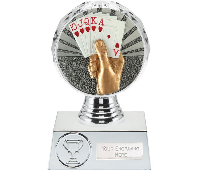"Cards Trophy Silver Hemisphere 13.5cm (5.25"")"
