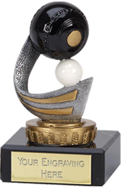 "Gold & Silver Plastic Lawn Bowls Trophy on Marble Base 9.5cm (3.75"")"