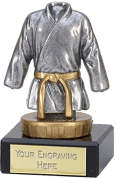 """Silver & Gold Plastic Martial Arts trophy on Marble Base 9.5cm (3.75"""")"""