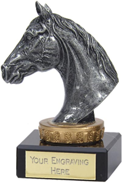 """Antique Silver Horse Trophy on Marble Base 9.5cm (3.75"""")"""