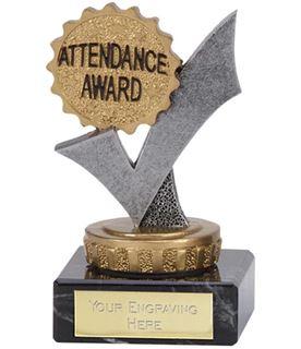 "Silver & Gold Tick Attendance Award Trophy 9.5cm (3.75"")"