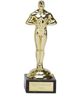 "Gold Plastic Icon Achievement Trophy on Marble Base 18cm (7"")"