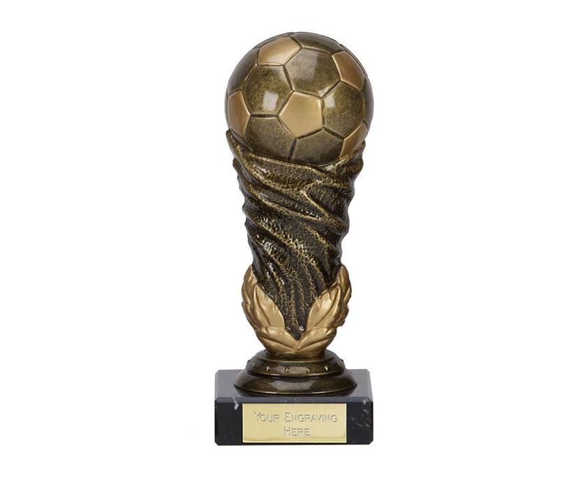 """Antique Gold Spiral Leaf Football Trophy 16.5cm (6.5"""")"""