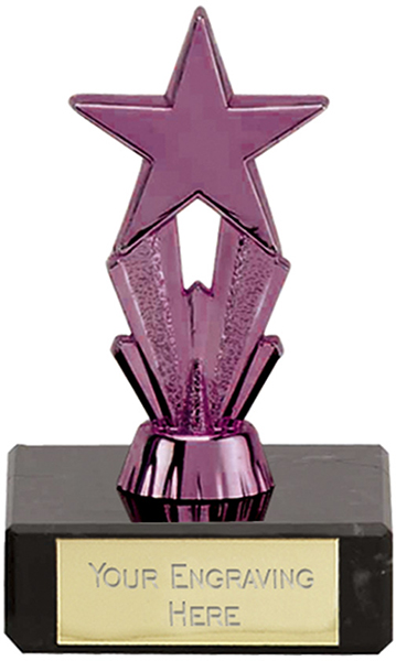 "Purple Micro Shooting Star Trophy on Marble Base 8.5cm (3.25"")"
