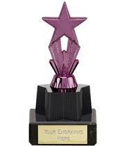 "Purple Micro Shooting Star Trophy on Marble Base 11cm (4.25"")"
