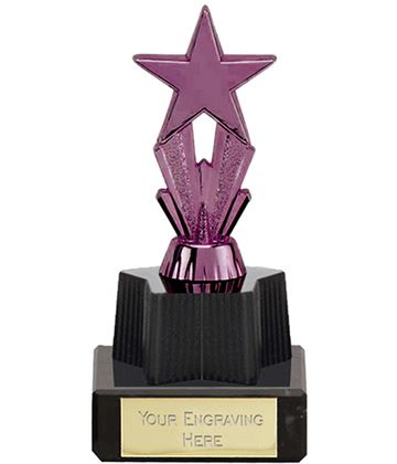 "Purple Micro Shooting Star Trophy on Marble Base 11cm (4.25"")"