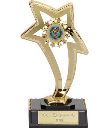"""Gold Curved Star on Black Base 17cm (6.75"""")"""
