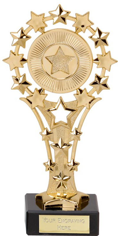 "Gold All Star Trophy on Marble Base 17cm (6.75"")"
