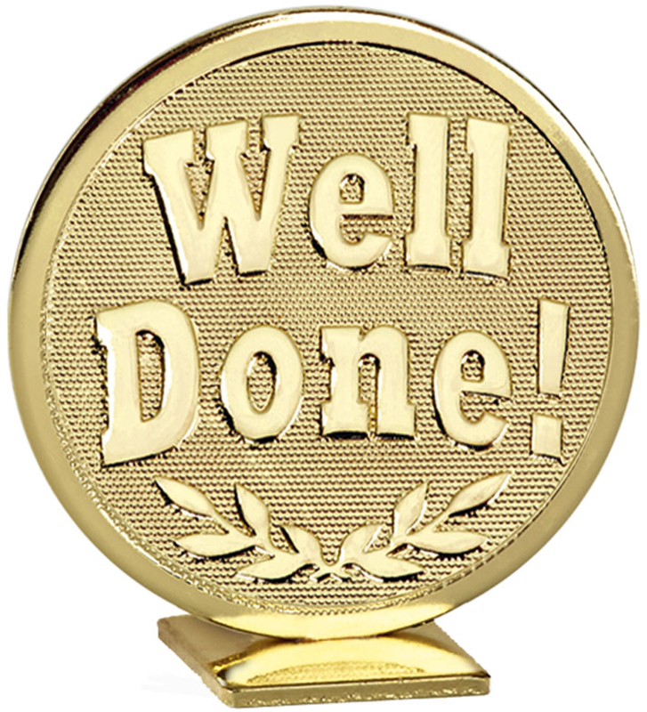 "Gold Global Well Done Self Standing Award 60mm (2.25"")"