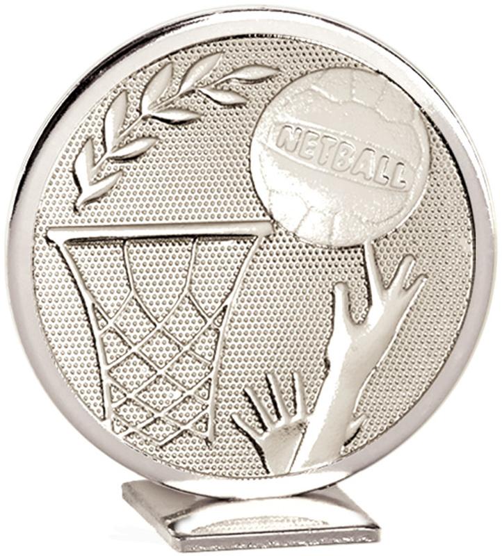 "Silver Global Netball Self Standing Award 60mm (2.25"")"