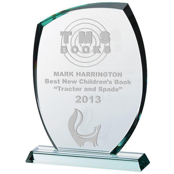 "Clear Cut Arch Glass Award on Flat Glass Base 26.5cm (10.5"")"